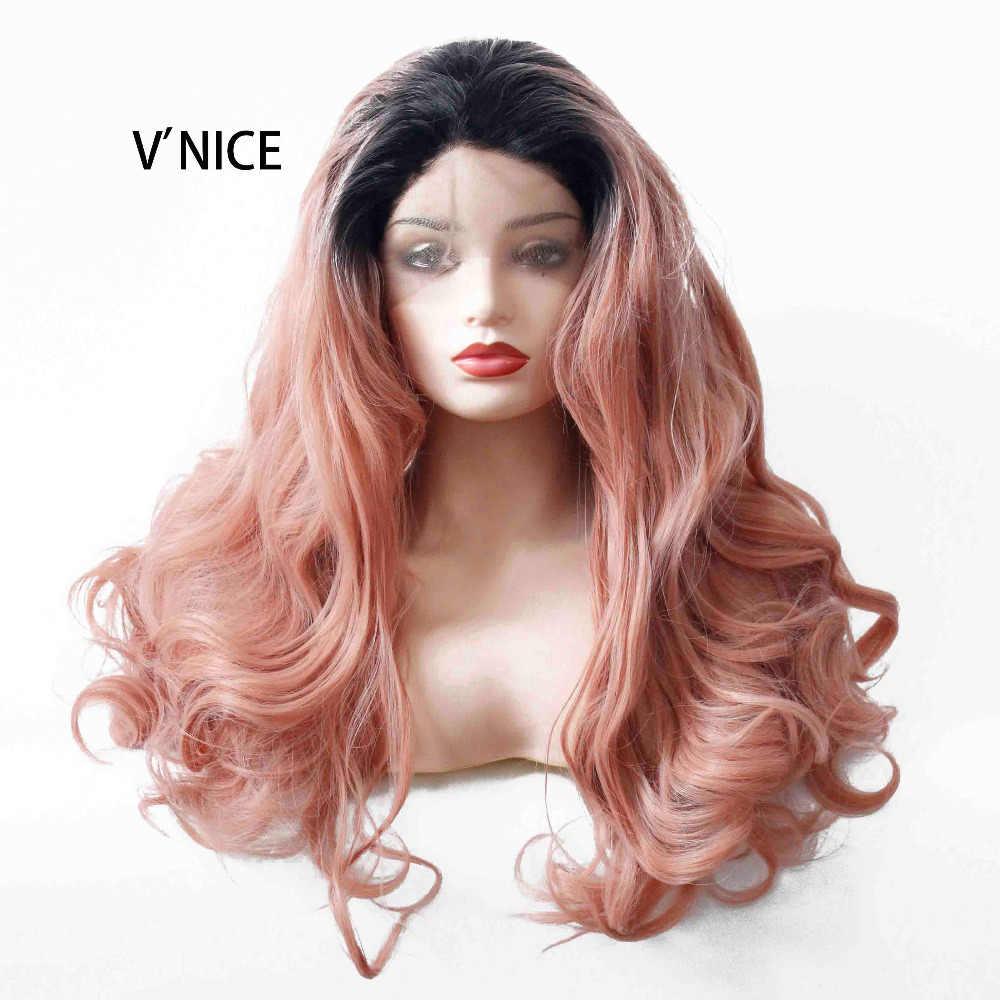 V'NICE химическое Синтетические волосы на кружеве Ombre персик красный парик для Для женщин Длинные Волнистые жаропрочных розовые волосы Glueless волосы заменить ежедневно парик