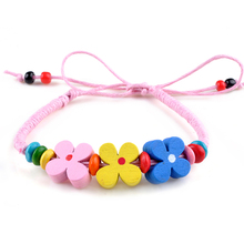 1PC Fashion Colorful Women Girl Jewelry Adjustable Size Handmade Braided Wooden Flower Cord Friendship Bracelets 10 Colors