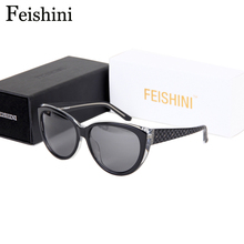 Feishini Luxury Polaroid UV400 HD Glasses Cat Eye Elegant Checked Sexy Advanced Acetate Sunglasses Women Polarized Vintage 2017