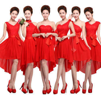 2017 new arrival red bridesmaid dresses for girls back lace up front short long back style.jpg 350x350