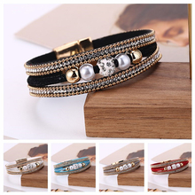 HOCOLE Vintage Multilayer Bead Leather Bracelet For Women Charm Wrap Crystal Rhinestone Bangles Female Fashion Jewelry
