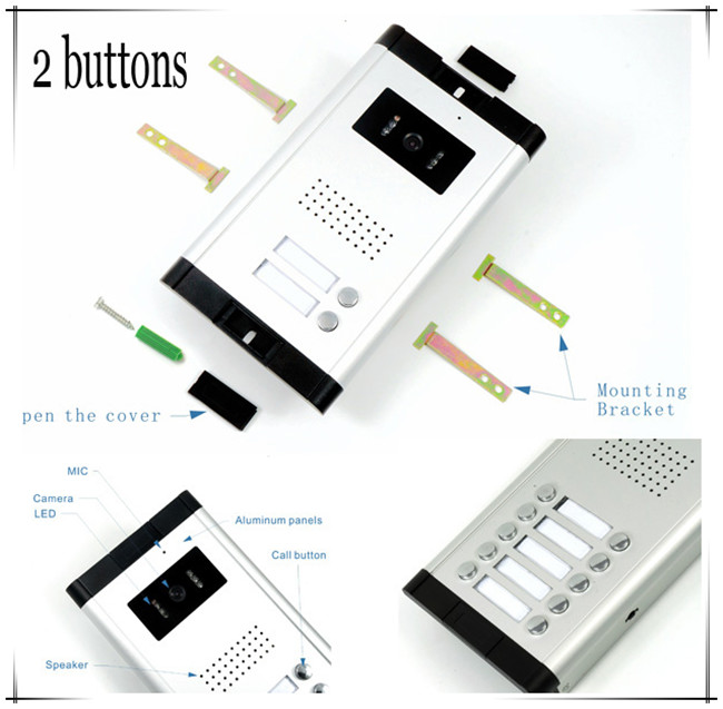 2 Apartments Video door phones intercom systems 2 keys outdoor unit SONY 700 Lines, Clearer Video! HD Camera +Electronic lock