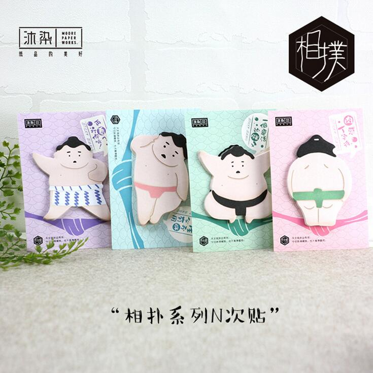Japanese Sumo Style Memo Pad Sticky Notes Memo Notepad School Office Supply Escolar Papelaria Gift Stationery 4 pcs lot cat memo pad stationery papelaria escolar school supplies memo pad gift cute kawaii animal sticky notes memo notebook