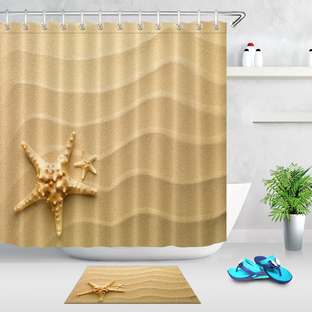 Long Shower Curtain Us 8 53 39 Off Lb 72 Beach Starfish Extra Long Shower Curtain With Mat Set Bathroom Curtains Nature Waterproof Fabric For Art Bathtub Decor In