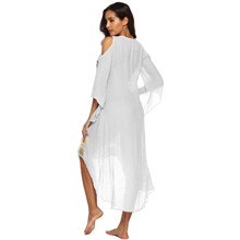 Plus Size Beach Dress Long Cover Up Swimsuit Bikini Women Ups Large White Bathing Suit Swim Wear Beachwear Crochet Flower 2019