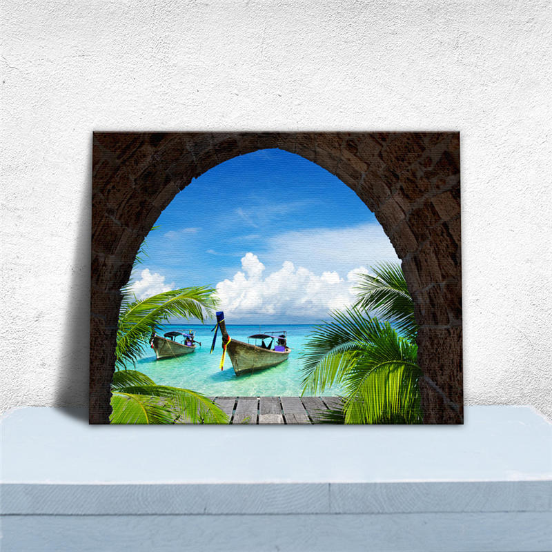 Decorative Painting Tropical Island Pattern Fake Window Design Built-in Frame Home Wall Decor Canvas Printing Painting