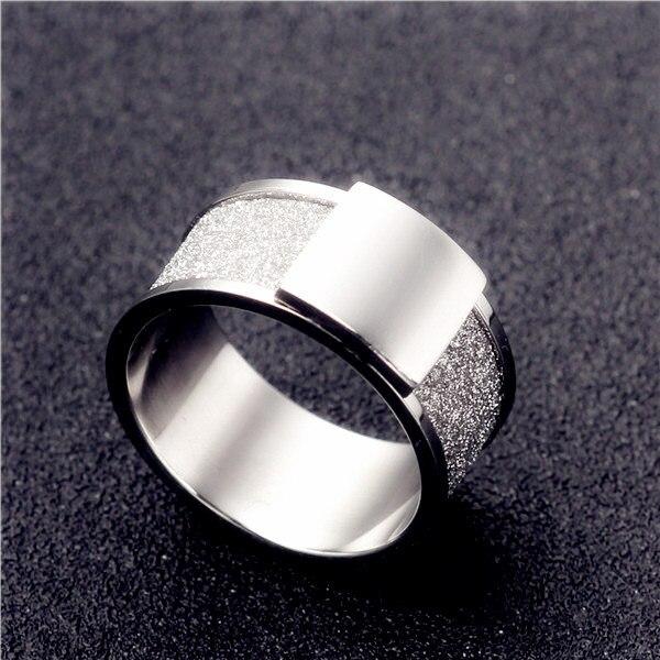 10mm Stainless Steel Scrub Ring Wedding Engagement Square Rings Men Women