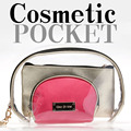 Brand Women Makeup Bags, Shell Shape Transparent Clear Cosmetic Bag 3pcs Set Organizer Cosmetic Case Bag in Bag Kosmetik Pouch