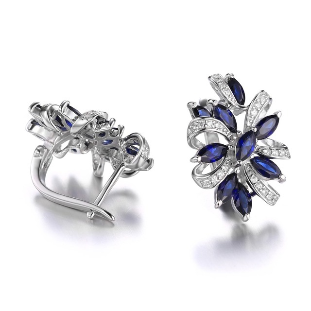 CiNily Authentic. Solid 925 Sterling Silver Earrings Created Sapphire Cubic Zirconia Fine Jewelry for Women Stud Earrings SE040