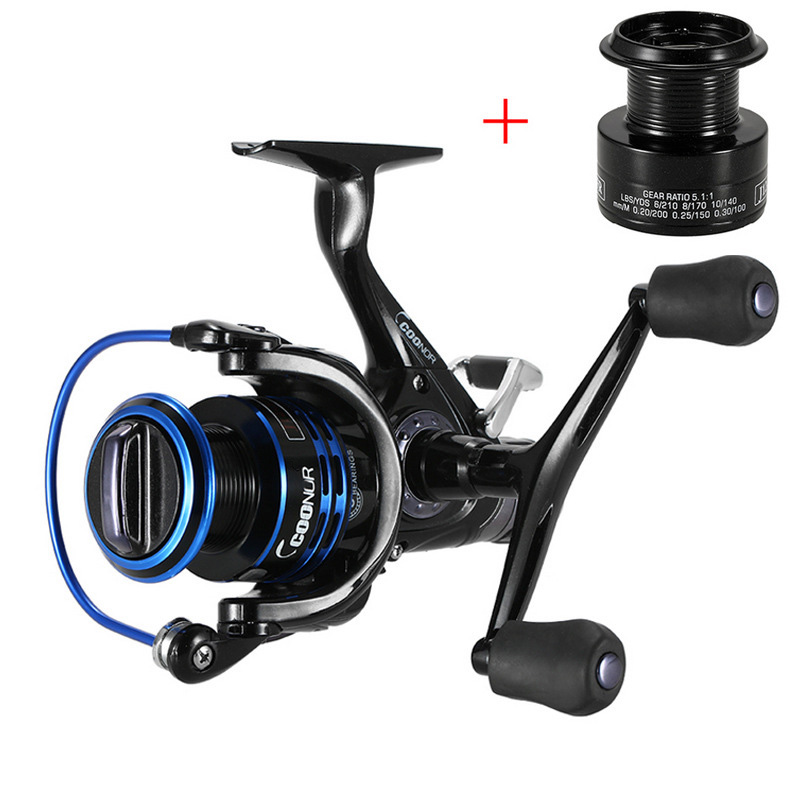 3000/4000/5000/6000 Series Spinning Fishing Reel 10BB 5.1:1 Saltwater Spinning Wheel Double Knob Fishing Reel +Spare Spool FR254