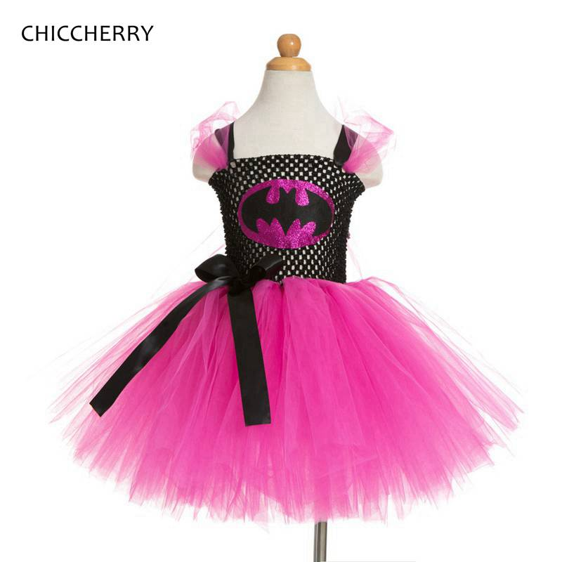 Summer Batman Baby Girl Tutu Dress Fancy Kids Halloween Party Costumes Vestido Fille Bebe Birthday Children Clothing Bosudhsou baby girl infant 3pcs clothing sets tutu romper dress jumpersuit one or two yrs old bebe party birthday suit costumes vestidos