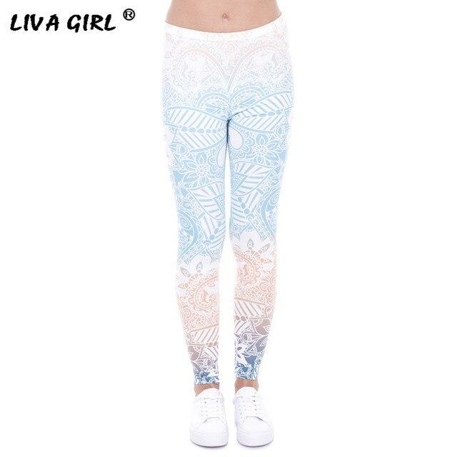 f609dd8d401ce1 Hot Sale Women Leggings Mandala Mint Print Fitness Legging High Elastic  Leggins Legins Trouser For Women Activewear Femme Pants
