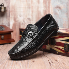 2019 fashion luxury crocodile pattern breathable leather men's shoes Europe United States trend casual shoes lazy shoes men europe and the united states personality men s shoes iron head dragon embroidery tip men s shoes low help leather casual shoes