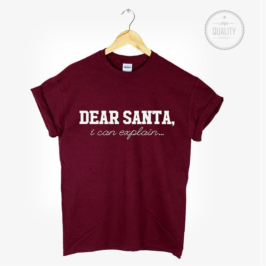 Querido Santa T camisa Navidad camiseta Top Tumblr lema amor odio Hipster regalo de Navidad más tamaño y Colors-B068
