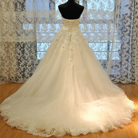 QQ Lover 2019 New Train Lace Wedding Dress Custom made Bridal Gown Plus Size Vestido De Noiva