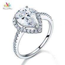 Peacock Star 2 CT pera corte anillo Plata de Ley 925 aniversario de la promesa de la boda joyería de compromiso CFR8221