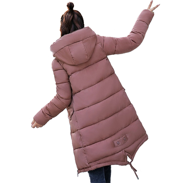 Winter Parkas Women Thicken Hooded Tops Students Cotton jacket Plus size Loose Warm Cotton-padded jacket Female Long Coats N251