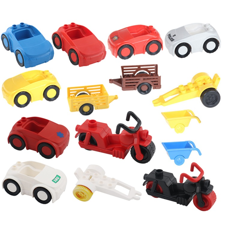 Motorcycle Car Model Vehicle Set transport Bricks Big Particles Building Blocks accessory Kid DIY Gift Toy Compatible with Duplo free shipping happy farm set 1 diy enlighten block bricks compatible with other assembles particles