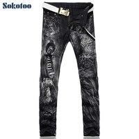 Sokotoo Hommes de mode imprimé léopard jeans Homme slim fit droite noir denim pantalon Livraison gratuite