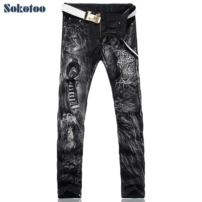 Sokotoo Men's Fashion Leopard Print Jeans Male Slim Fit Straight Black Denim Pants Free Shipping