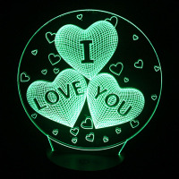 Magical Optical Illusion 3D LED I Love You Night Light USB Table Lamp Atmosphere Light With