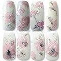Venta caliente 12 Estilos Rosa Diseños de Flores 3D Nail Art Stickers Mujer DIY Decoraciones Del Arte Del Clavo Tip Nail Vinilos Adhesivos