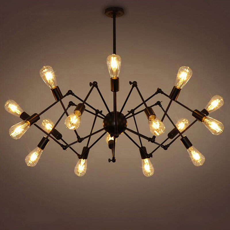 Creative Wrought Iron Spider Chandelier Retro Creative Living Room Lamp Restaurant Industry Light E27 lamp 8