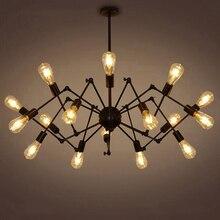 Creativo In Ferro Battuto Spider Lampadario Retrò Creativo Soggiorno Lampada Ristorante lampada Luce Industria E27 8/12/14/16 teste