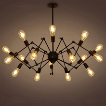 Lámpara de araña de hierro forjado, creativa, Retro, creativa, para sala de estar, restaurante, industria, luz E27, 8/12/14/16 cabezas
