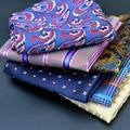 New Men's Pocket Square Woven Print Plaid Suits Handkerchiefs Chest Towel Hankies Business Wedding Casual Square Pockets 25cm