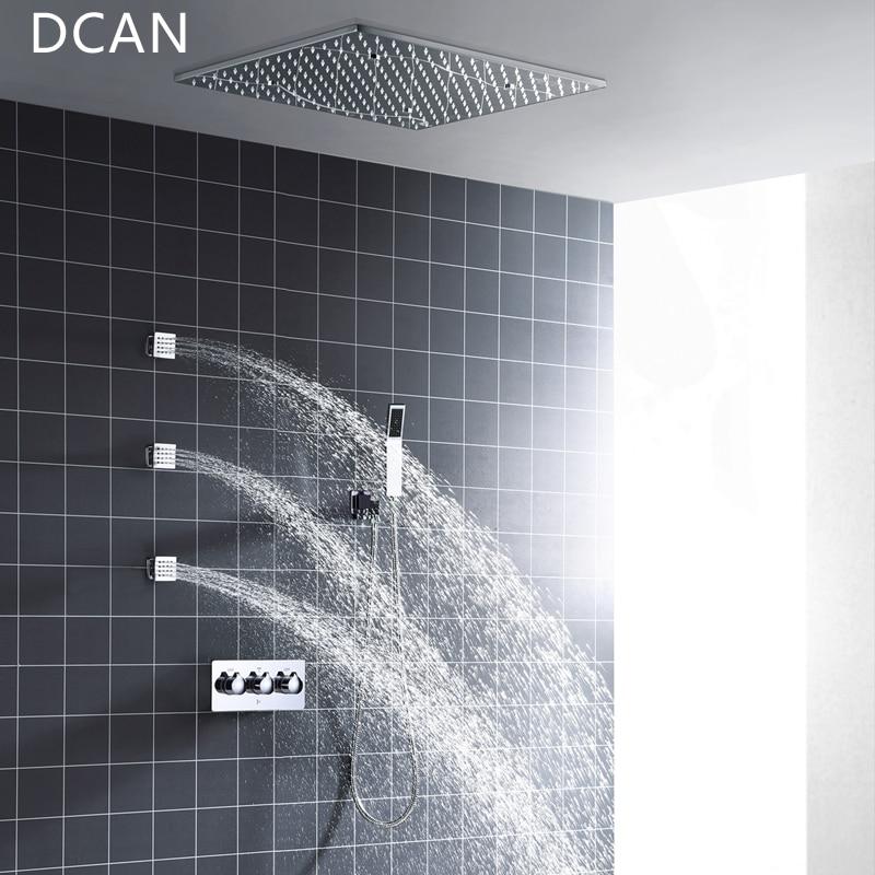 DCAN Vendita All'ingrosso SPA 500x500mm 20 pollice 3 Way Hot Cold Miscelatore Doccia a Pioggia Set Lampada A LED Illuminato soffione doccia con 3 Spray Jets