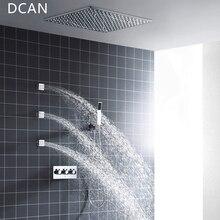 DCAN оптовая продажа спа 500 x мм 500 дюймов мм 20 дюймов 3 способа горячий холодный смеситель дождь Душ Набор светодио дный лампа с подсветкой душевая головка с 3 распылителями