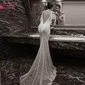 Кот gelinlik Платья Mermaid Шнурка свадебные платья Богемной Пляж Сексуальная Спинки Свадебные платья Z383