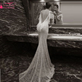 Ivory gelinlik Gowns Lace Mermaid wedding dresses Bohemian Beach Sexy Backless Bridal gowns  Z383