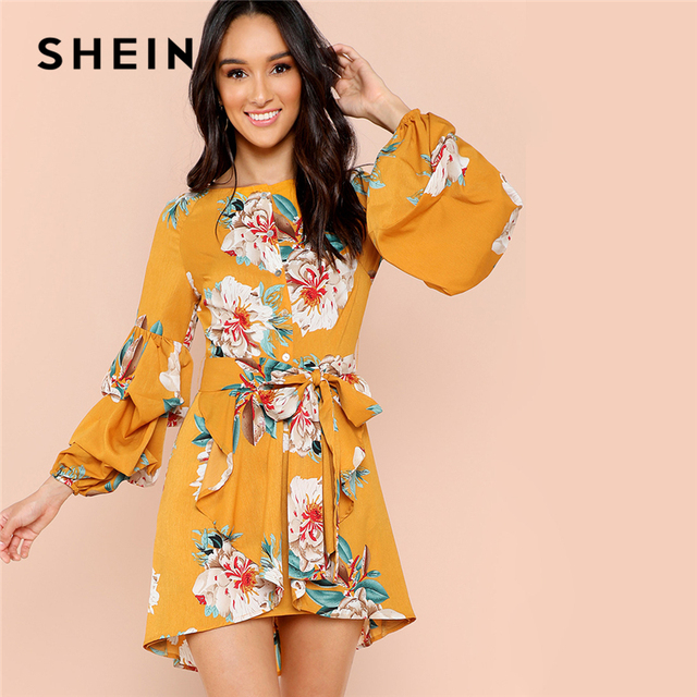 53d86c2caab6 SHEIN Multicolor Vacation Boho Bohemian Beach Gathered Sleeve Half Placket  Floral Belted Dress 2018 Autumn Women