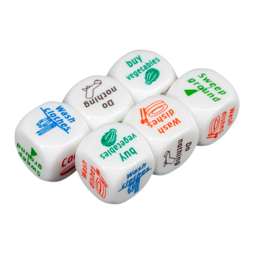 6pcs Family Game Housework Decider 25x25mm Lovely Distribution Funny Dice Set Couples Lovers Household Duties Dice