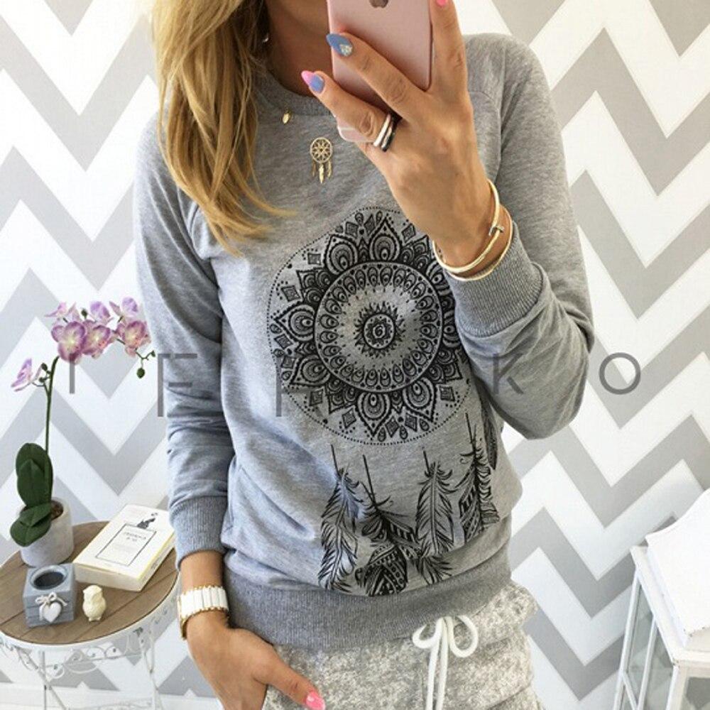 AvoDovA Spring Long Sleeve O Neck Shirts 2019 New Women Casual Print Blouses Plus Size Tops 5XL