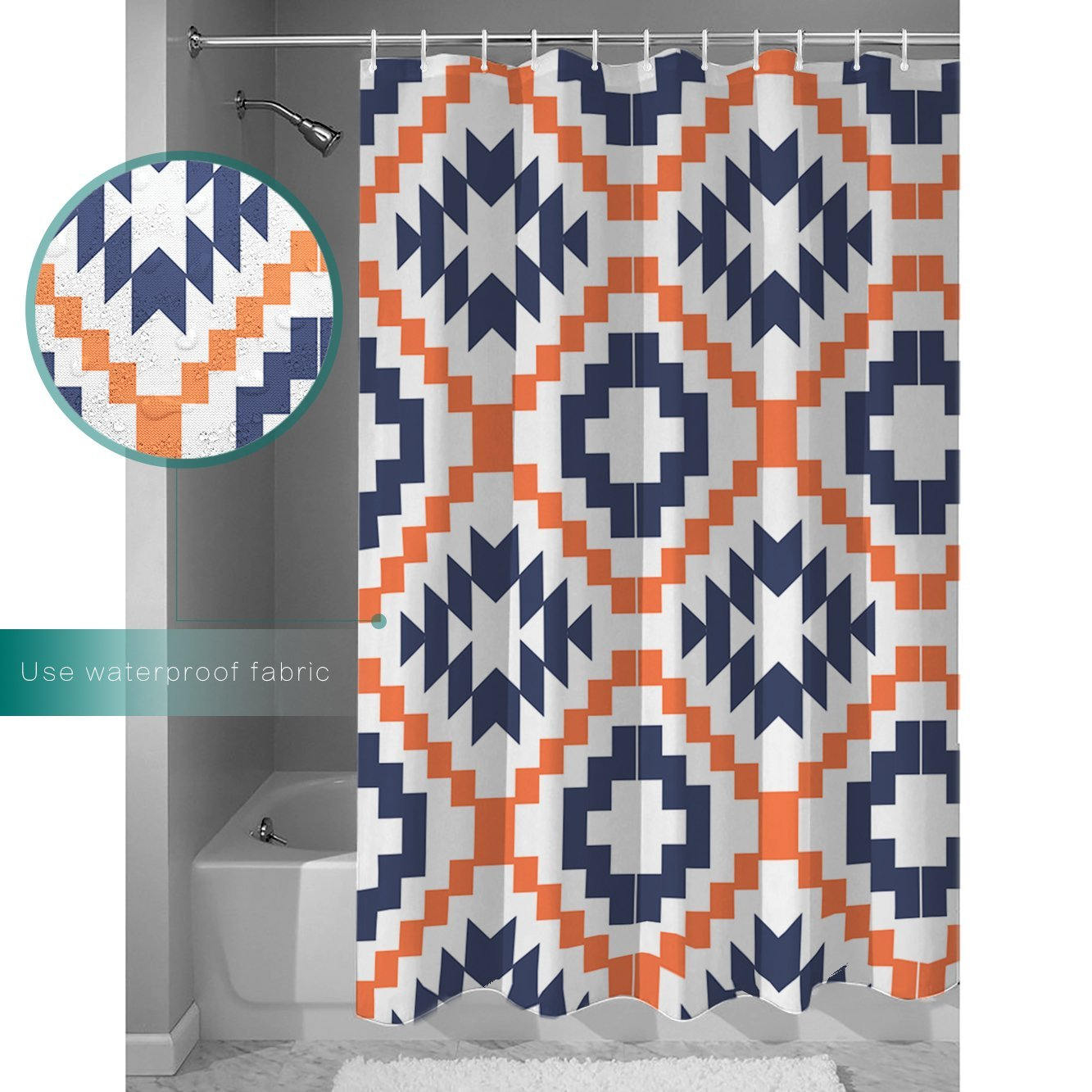 Shower Curtain Square Pixel Mosaic Geometric Pattern Blue And Orange Funny Soft Comfort With Hooks 72x96 Inches In Curtains From Home