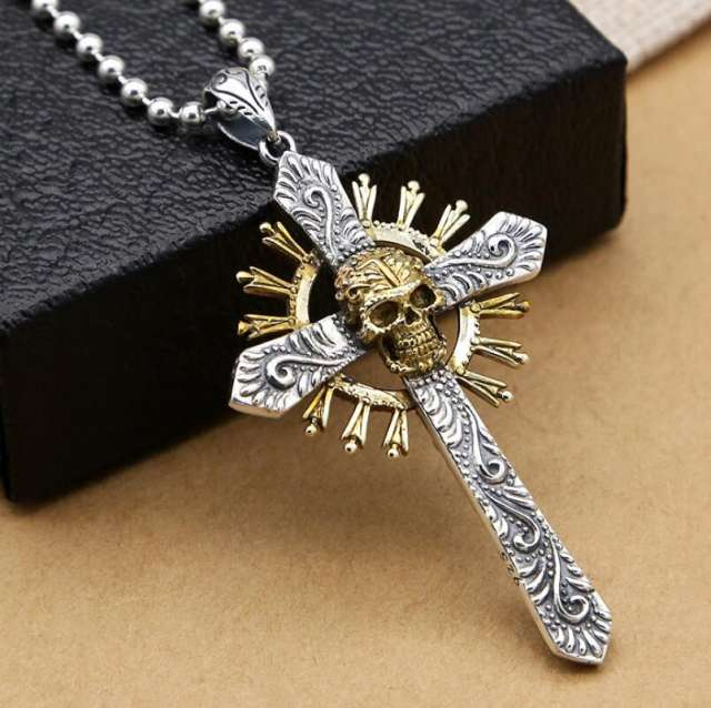 925 STERLING SILVER SKULL CROSS NECKLACE