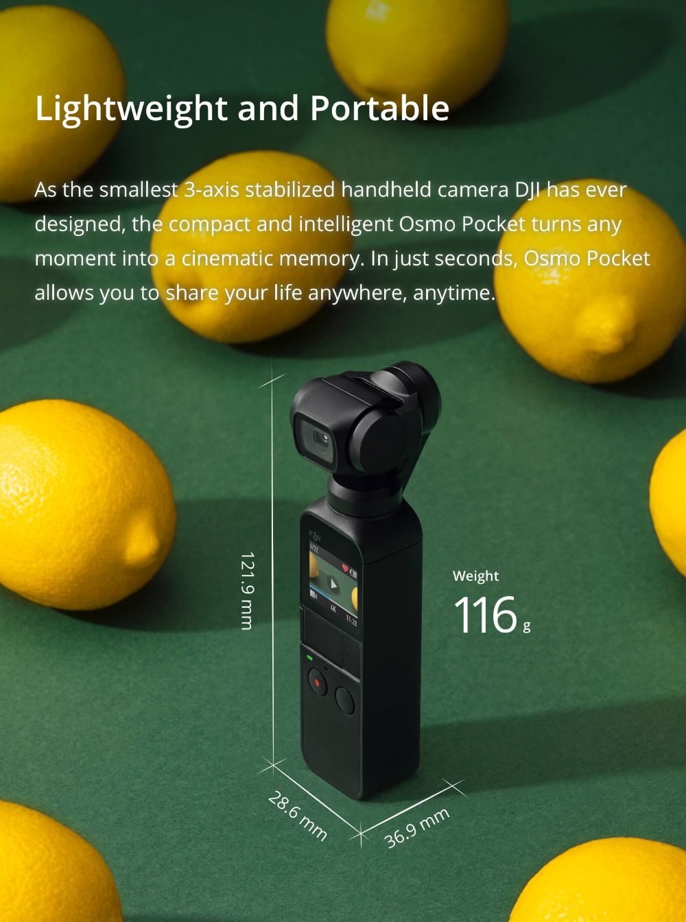 DJI Osmo Pocket 3 axis stabilized 8