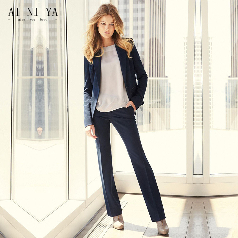 Dark Blue Women Business Suits Work Wear Autumn Slim Two-piece Female Office Uniform Formal Ladies Elegant Pant Suits Custom Demand Exceeding Supply