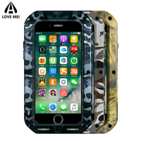 Love Mei Camouflage Metal Armor Shockproof Case For iPhone 7 8 Plus Waterproof Cover Aluminum Outdoor Case For iPhone7 8 7Plus
