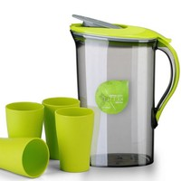 2.1L BPA free Pitcher Plastic Cold Water Container Kettle Water Jug Sets Canteens with for Home and Kitchen, Set of 5