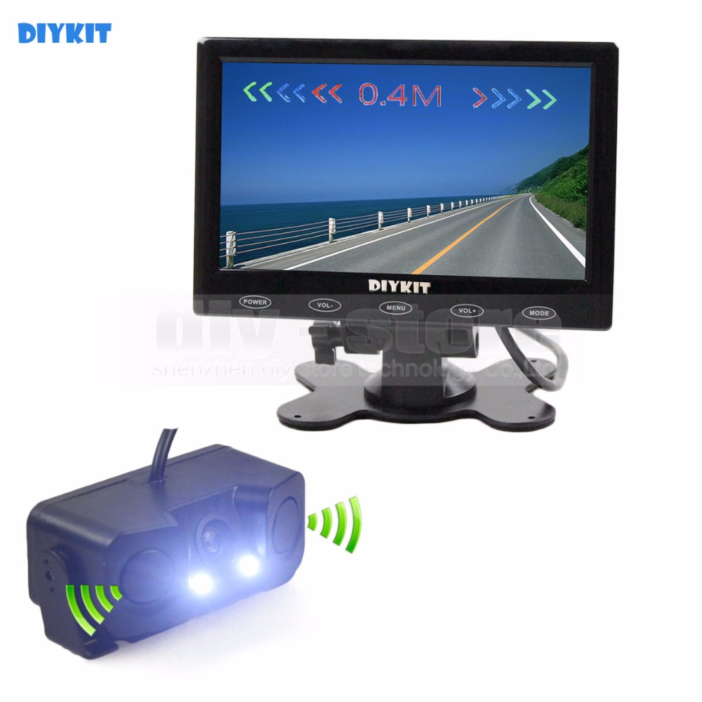 DIYKIT Video Parking Radar 7 inch Touch Button Ultra-thin Car Monitor + LED Rear View Car Camera Sensor Assistance System Kit car mp5 player bluetooth hd 2 din 7 inch touch screen with gps navigation rear view camera auto fm radio autoradio ios