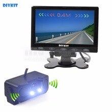 DIYKIT Vídeo Estacionamento Radar 7 polegada Carro Botão de Toque Ultra-fino Monitor + LED Sensor de Câmera de Visão Traseira Do Carro Sistema de Assistência Kit