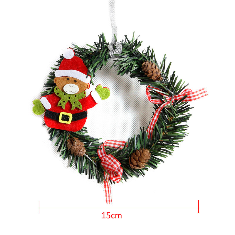 Us 1 23 Aliexpress Com Buy Small Christmas Wreath Cartoon With Pines Merry Christmas Wreaths Mini Xmas New Year Garland Nice Gift Xmas Wreath Dia