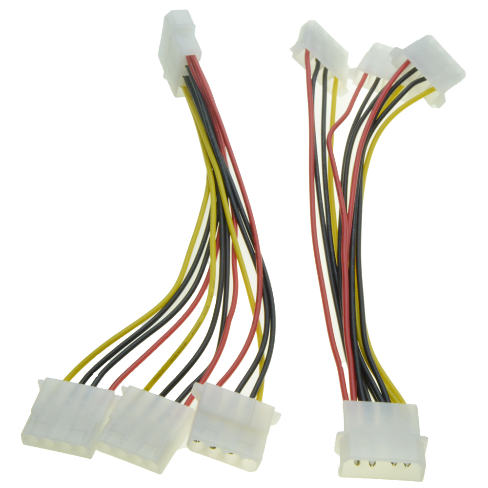 4 Pin Molex Power Supply Extension Cable Male 1 to 3 Female Ports Power Cable IDE Power Port Multiplier D Connector Y Splitter