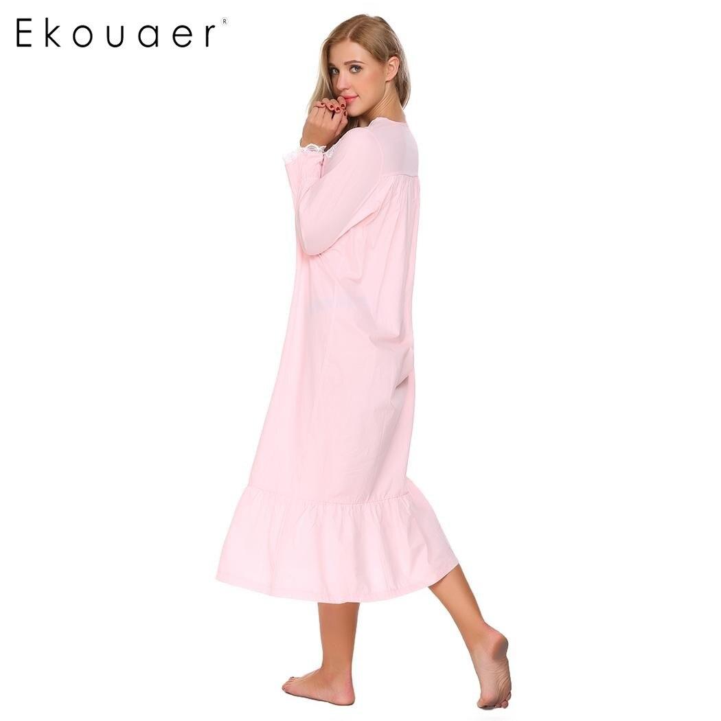 Ekouaer Elegant Solid Nightwear Women Victorian Nightgown Long Sleeve Sleepwear Lace Patchwork Ruffled Hem Night Dress Plus Size 3