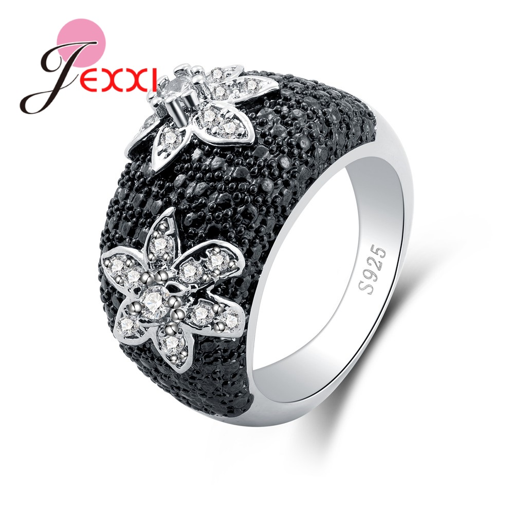 New Wonderful Round Shinning Flower Rhinestone Good Big Rhinestone 100% 925 Sterling Silver For Women Party Jewelry