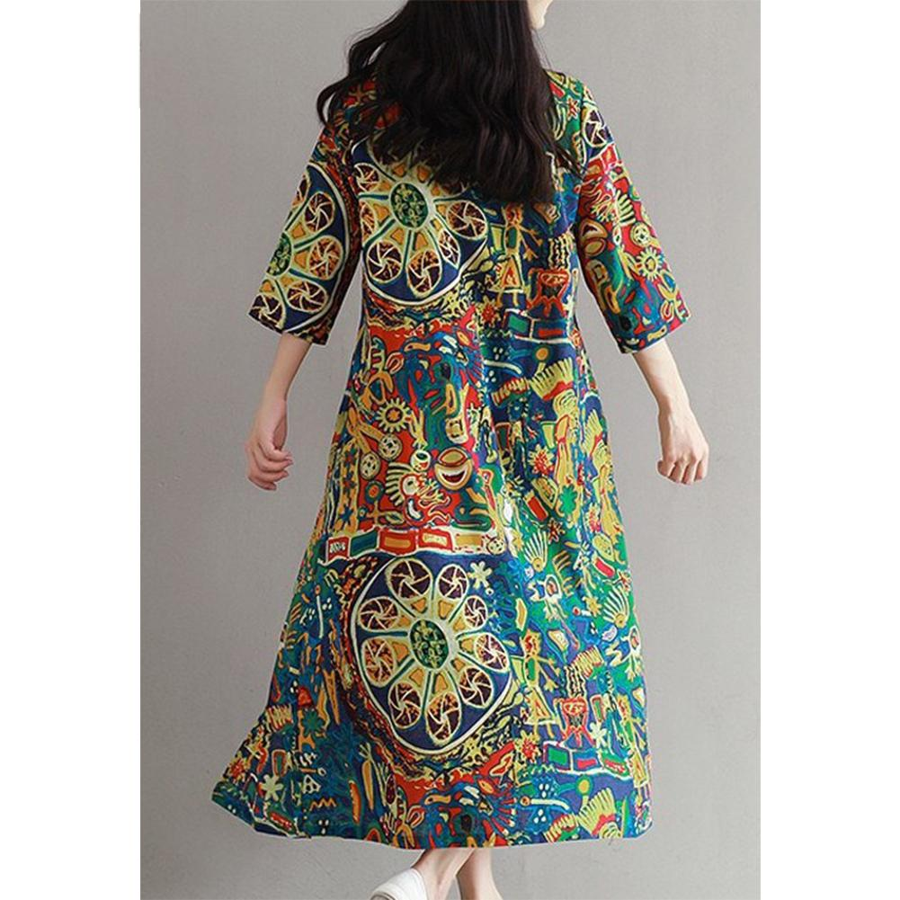2019 New Yfashion Women Retro Floral Print Loose Casual Cotton Linen Dress in Dresses from Women 39 s Clothing